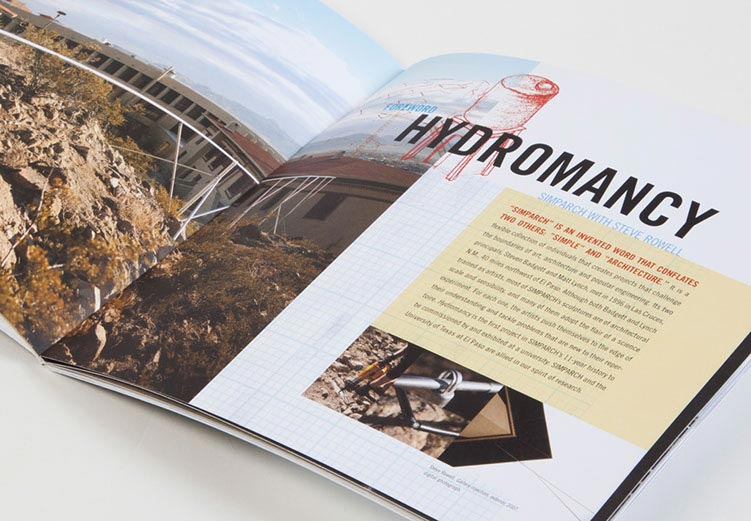 Inside spread detail for exhibition catalog design for Hydromancy