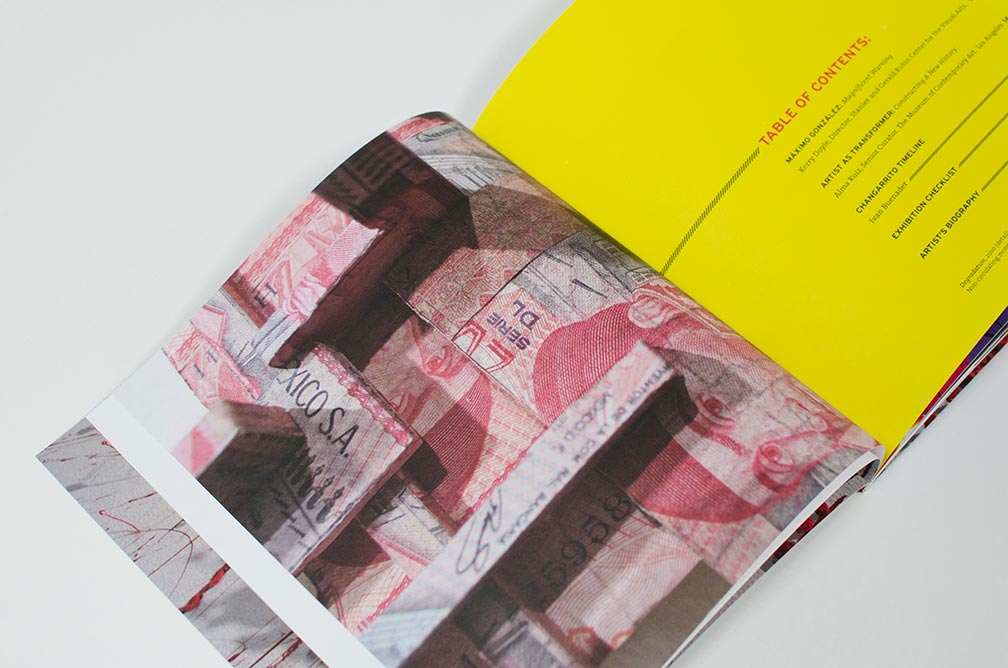 Inside spread detail for exhibition catalog design for Máximo González, Magnificent Warning