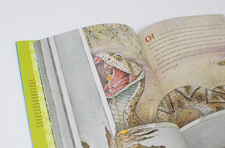 Spread of My Pet Rattlesnake, illustrations by Antonio Castro L.