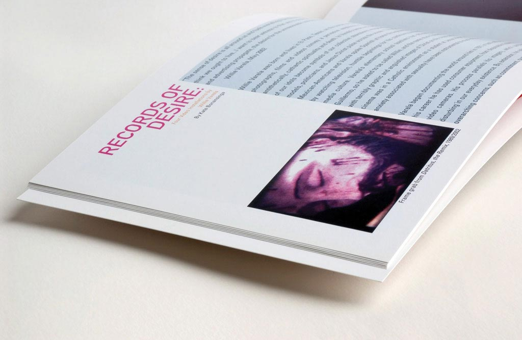 Inside spread detail for exhibition catalog design for Crossing Over