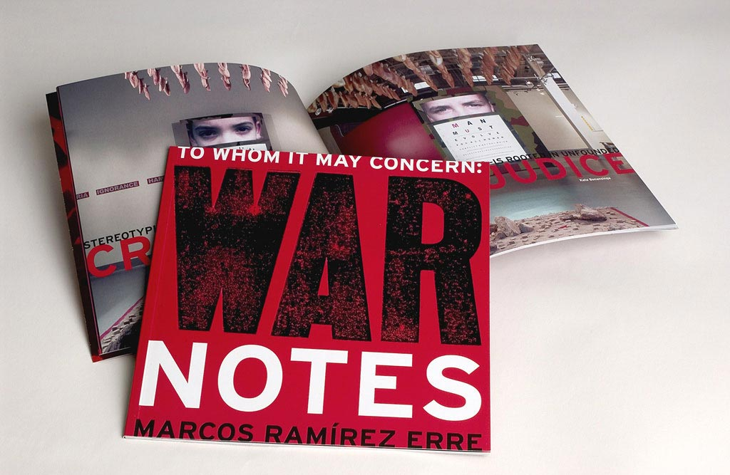 Exhibition catalog design for To Whom it May Concern: War Notes at the Stanlee & Gerald Rubin Center for the Visual Arts, El Paso, TX